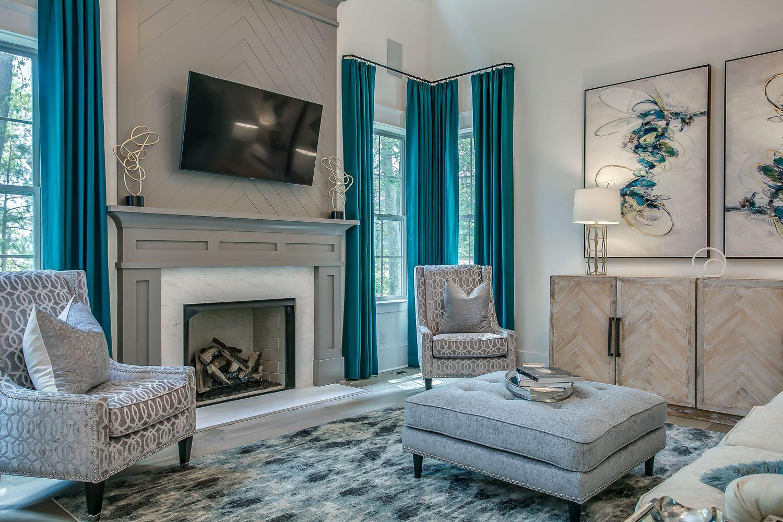 Living Room designed by an Elegant Home Designer of Nashville's Luxury Dream Home Plans